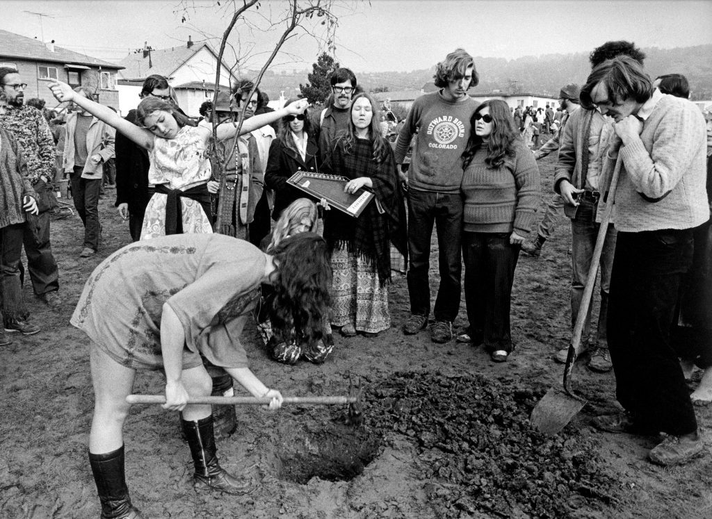 Planting flowers in San Francisco, 1969