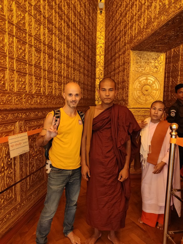 Theravada monk and nun in Myanmar